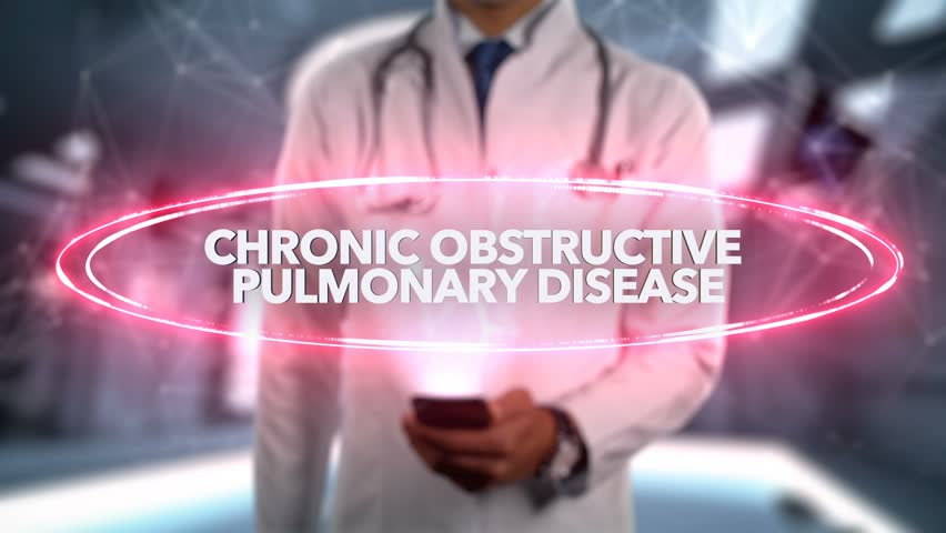 Chronic obstructive pulmonary disease - Male Doctor With Mobile Phone Opens and Touches Hologram Illness Word