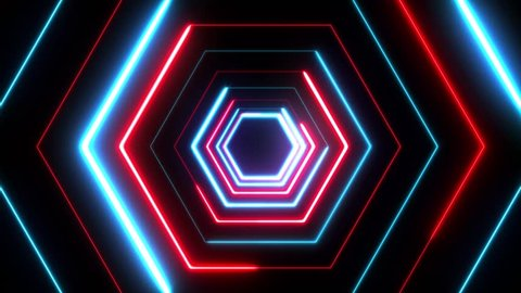 4k Abstract Digital Background Neon Polygon/ Animation of an abstract digital cg red and blue background with neon light polygons seamless looping
