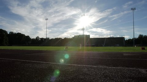 High School football field from track perspective
