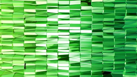 Seamless 3d geometric background in modern geometric style low poly with bright gradient colors. 4k clean green low poly 3d animation in loop. fluttering flat surface 2