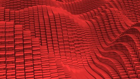 Waving surface with glossy red cubes close up animation background