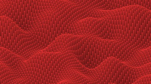 Waving surface with rounded red cylinders animation background
