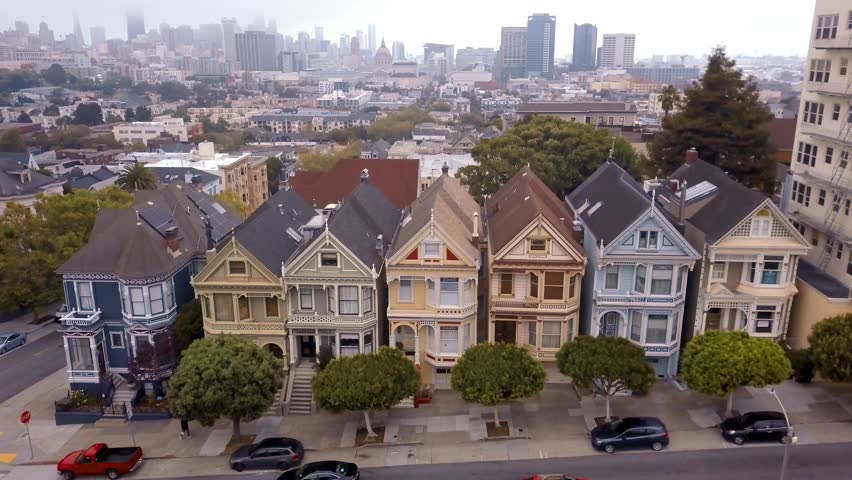 Aerial view of the seven sisters houses in San Francisco called Painted Ladies