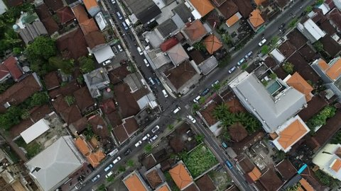 Ubud, Bali / Indonesia - August 17, 2018 : Aerial of a busy intersection in Ubud, Bali