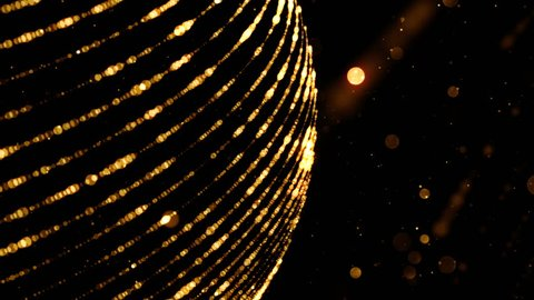Abstract background with golden sphere and glitter particles. Seamless loop.