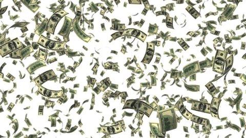 falling money leaf fall, alpha transparency dollar USA USD
