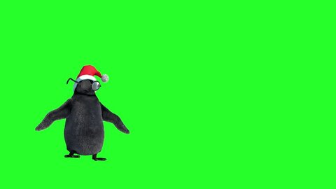 cartoon penguins dancing dressed in Christmas hats on green background