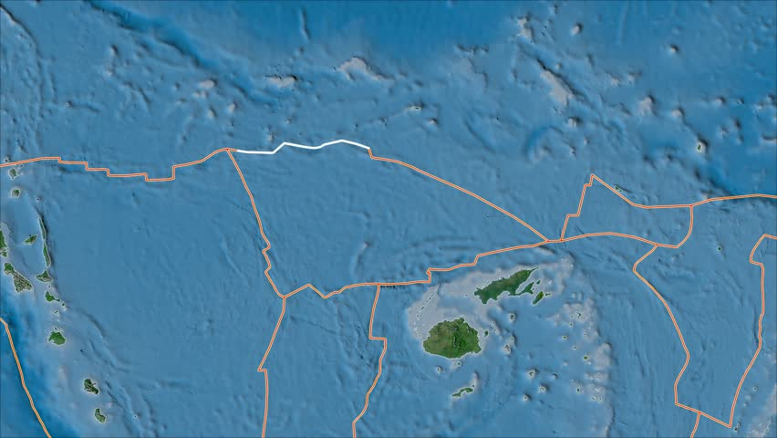Balmoral Reef tectonic plate shape animated on the satellite A map in the van der Grinten projection with oblique transformation. Borders first. Peter Bird's division