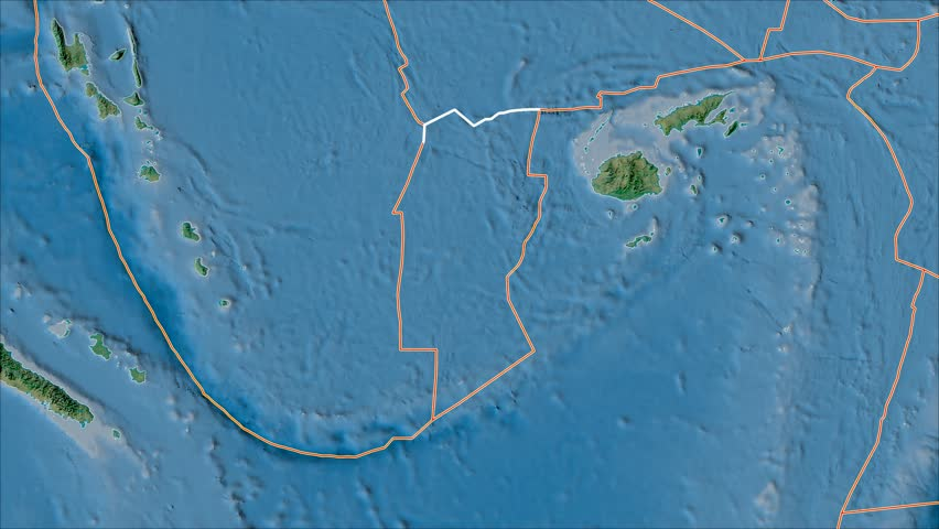 Conway Reef tectonic plate shape animated on the topographic map in the van der Grinten projection with oblique transformation. Borders first. Peter Bird's division   Shutterstock HD Video #1017462859