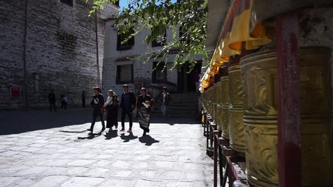 Lhasa,Tibet/China-Sept.12, 2018:Tibetan people turning prayer wheels in Sera Monastery