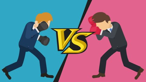 Business man battle in boxing gloves. Business competition concept. Loop illustration in flat style.