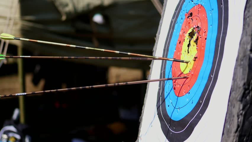 An outdoor target for shooting with a bow and arrows, for archery arrows on a summer day , in the Park. Archery target , Hit the goal. target board and arrow shoot.