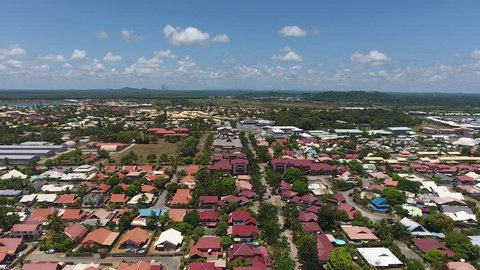 Aerial view of Kourou commune in French Guiana. Sunny day