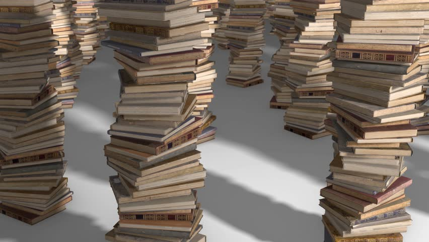 Free flight camera between stacks of old books, folded spiral. | Shutterstock HD Video #1017517669
