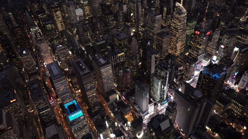 New York City Circa-2015, high angle aerial view over Midtown Manhattan and Times Square at night | Shutterstock HD Video #1017520159