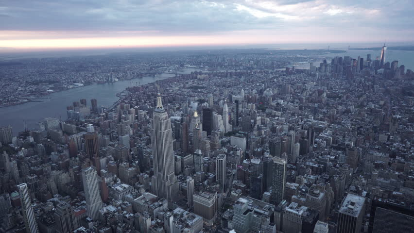 New York City Circa-2015, wide angle aerial view of Manhattan and Brooklyn from Midtown | Shutterstock HD Video #1017522649