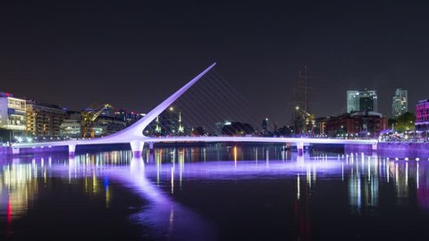 Puerto Madero cable bridge, night time lapse hyperlapse in Buenos Aires, Argentina