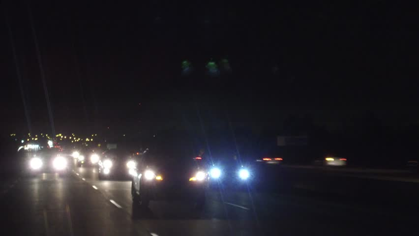 Toronto, Ontario, Canada October 2018 Driving plate car traffic POV on highway at night | Shutterstock HD Video #1017691879