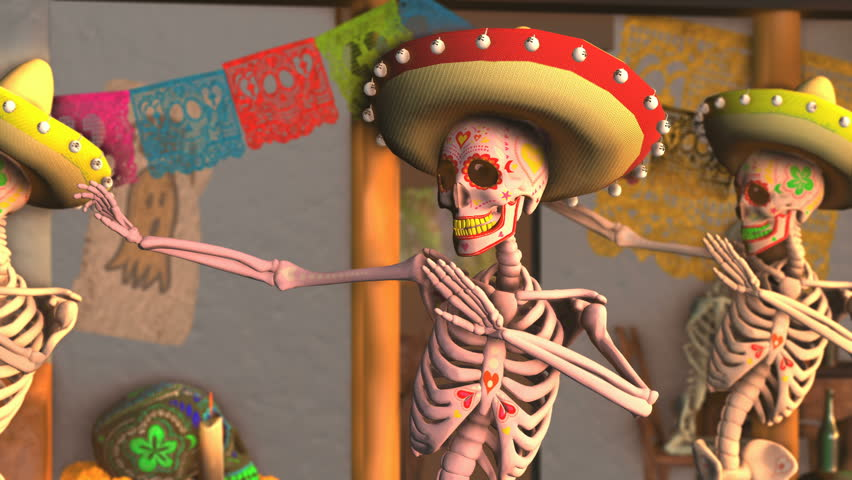 Seamless animation mexican sugar skeletons dancing samba in a tipical mexican village at sunset. Funny Halloween 4K background with decoration for Dia de los muertos in a graveyard.  | Shutterstock HD Video #1017710329