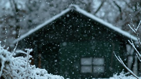 SLOW MOTION, DOF: Cinematic shot of a wooden shack in the woods on a beautiful snowy day. Lonely green hut in the middle of the forest weathering the snowfall during a cold winter. Winter wonderland.