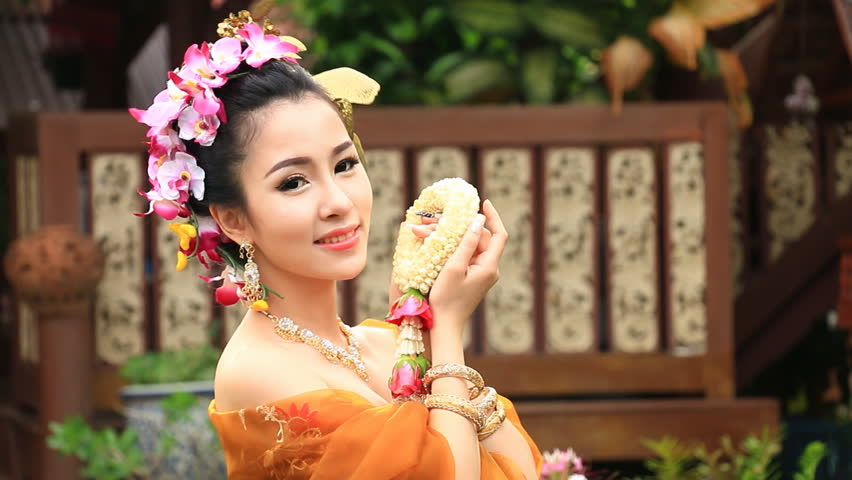 Stock Video Clip Of Beautiful Thai Woman In Traditional Costume