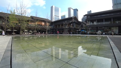 Chengdu,Sichuan Province/China-Sept.17,2018: With the modern design and fashion brands in the traditional local architectures, Chengdu Taikoo Li has become  new business landmark in the city.