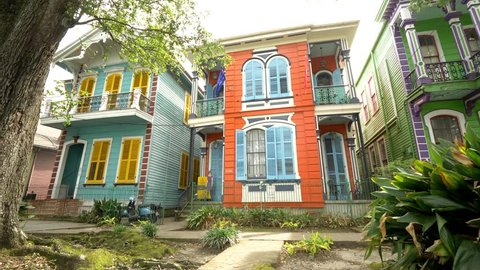 Colorful Houses On New Orleans Street French Architecture
