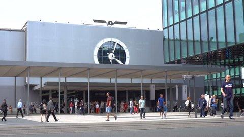 Art Basel Exhibition - Exterior Establishing Shot Time Lapse - Exhibition Square, Basel, Switzerland - June, 2018