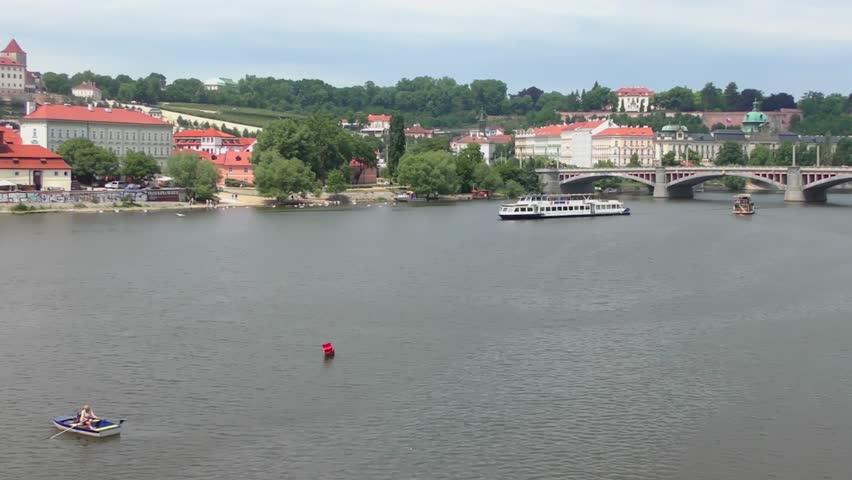View from the Charles Bridge in Prague, Czech Republic, circa 2015 | Shutterstock HD Video #1017867769