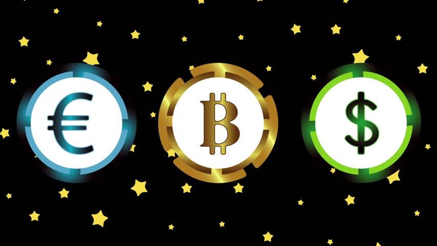 Bitcoin, dollar, euro and stars | Shutterstock HD Video #1017871399