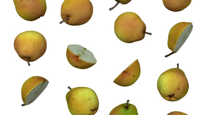 Realistic render of falling pears on white background. The video is seamlessly looping, and the objects are 3D scanned from real pears.  | Shutterstock HD Video #1017948889