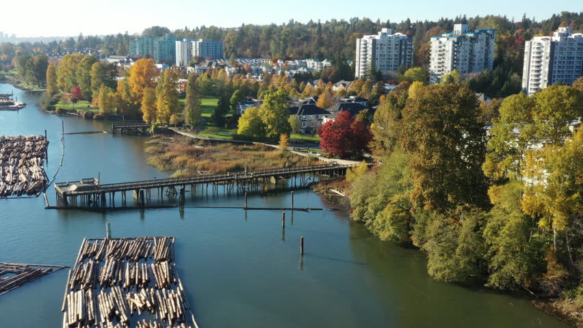 Aerial landscape view log booms Fraser River, Vancouver, BC, Canada. Drone flying. | Shutterstock HD Video #1018026229