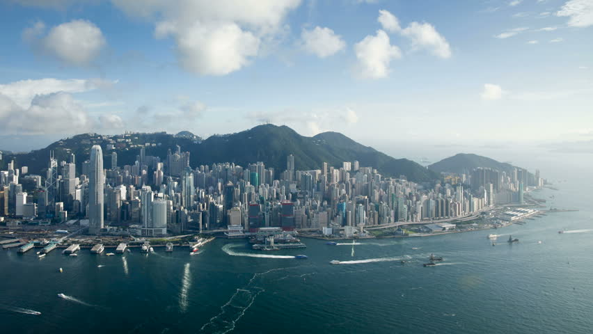 Aerial view over hong kong island looking towards victoria peak showing the | Shutterstock HD Video #1018046179