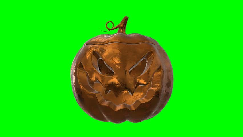 Halloween Gold Pumpkin object 360 Loop animation with transparent green alpha channel  | Shutterstock HD Video #1018069699