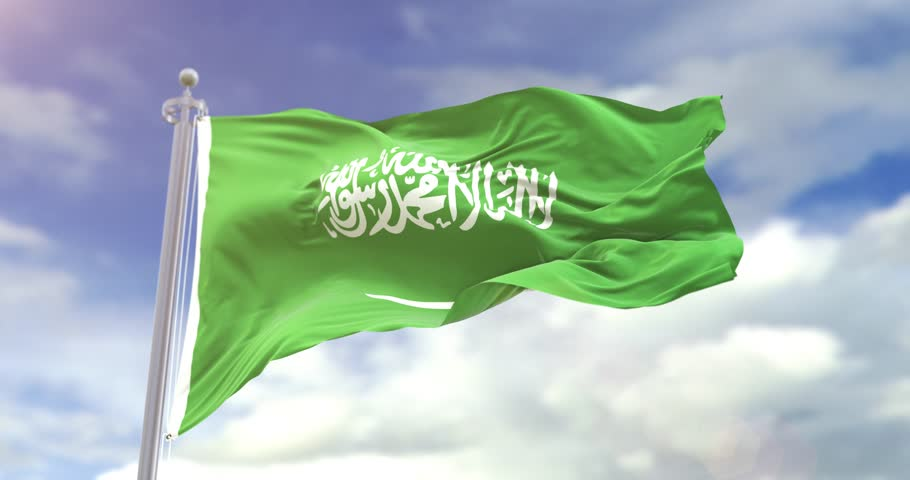 Photorealistic Flag Of Saudi Arabia On Sky Background. Saudi Arabia Flag Wave Slow Motion And Loop 4K. Sunny And Cloudy Flag Video. | Shutterstock HD Video #1018103359
