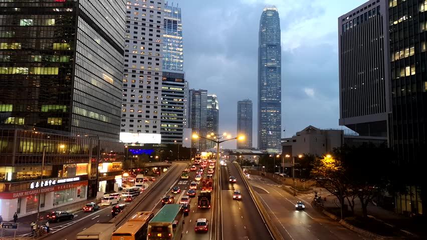Footage Car light trails and urban landscape night traffic modern building in Hong Kong. | Shutterstock HD Video #1018151839