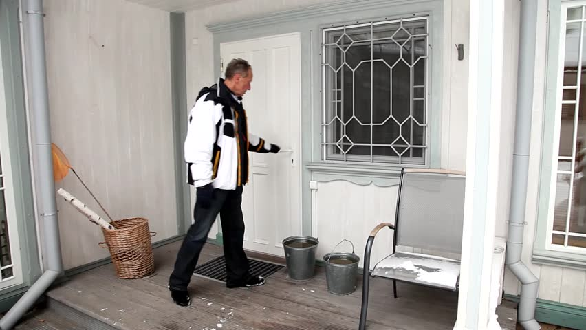 Winter. Man with  buckets of water is opening door and coming into house | Shutterstock HD Video #1018164319