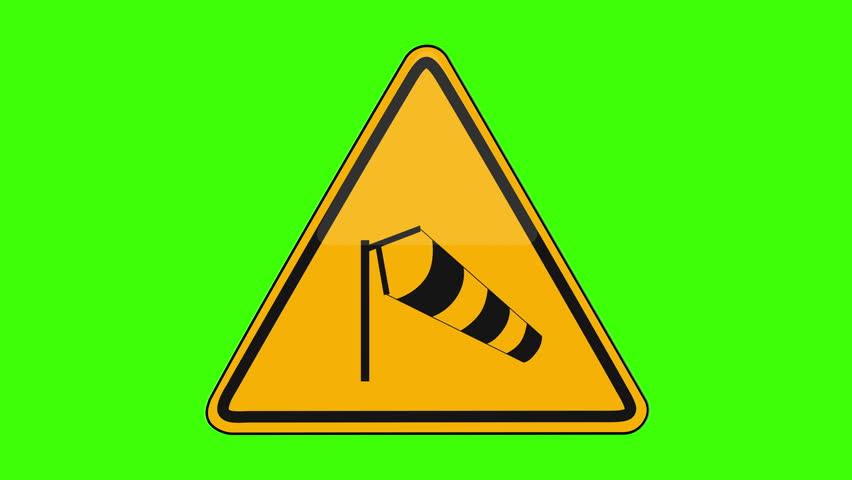Symbol Side Winds Yellow Sign Green Screen   Shutterstock HD Video #1018173649