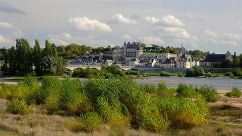 Amboise-France/Loire - October 10 2019 - Amboise - The Loire river and the village with the castle in background