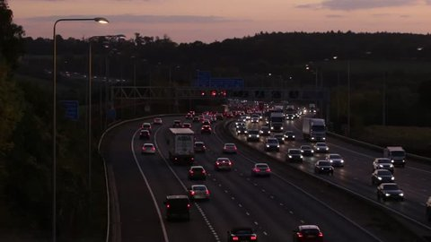 LONDON, UK - OCTOBER 18, 2018: Evening traffic on the busiest British motorway M25
