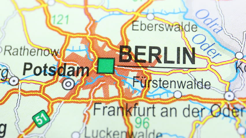 City Berlin on the map, angle changing from non-focus to focus and back | Shutterstock HD Video #1018193569