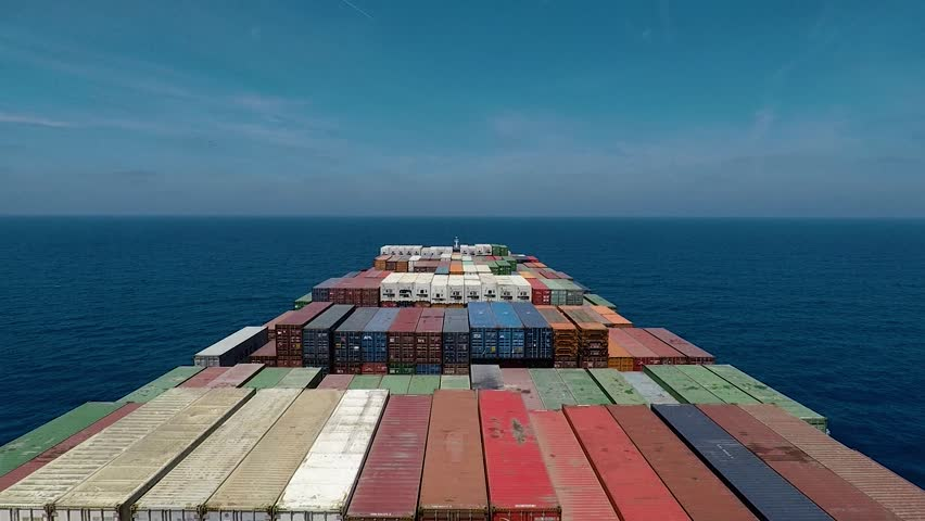 Onboard of huge Container ship during underway, center view #1018219339