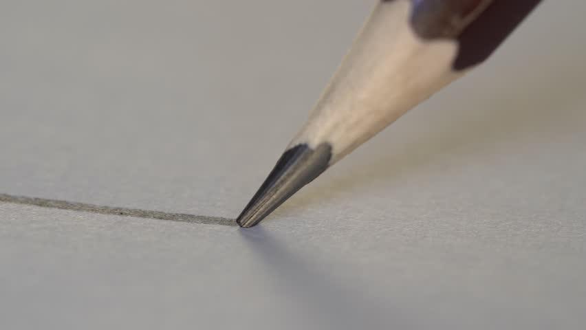 Artist hand drawing a flat gray line with a graphite wooden pencil on white paper. Close up, macro, 4k | Shutterstock HD Video #1018221889