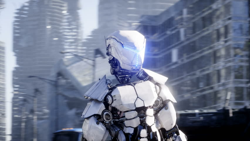 Military robot in destroyed city. Future apocalypse concept. Realistic 4k animation.