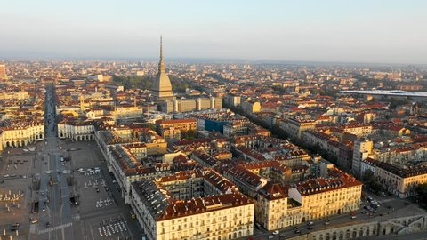 Turin (torino) aerial view from top view of old town city centre from sky.