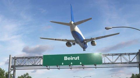 Airplane Landing Beirut
