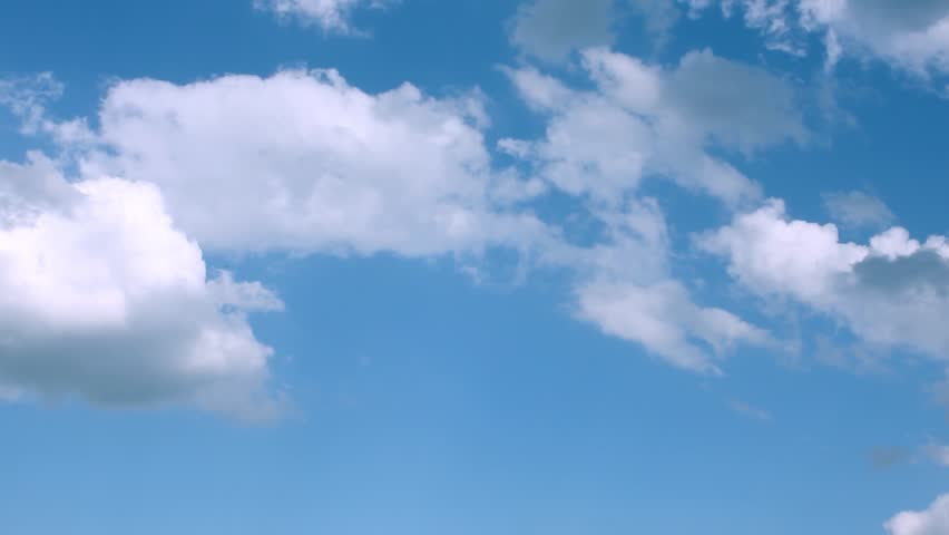 Beautiful clear sunny blue sky, white moving clouds time lapse, nature summer nice day. #1018383139