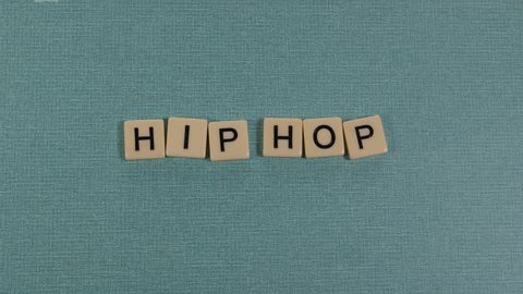 Animation with letters forming the word HIP HOP.
