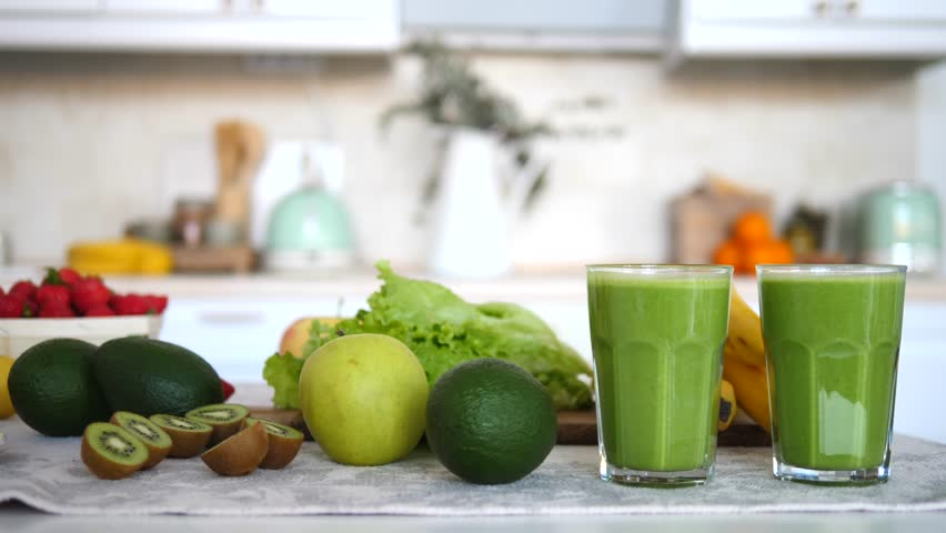 Food And Drink, Healthy Lifestyle, Diet And Nutrition Concept. Green Smoothie. #1018539499