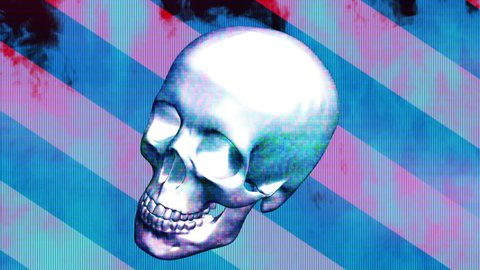 Pop grunge horror skull loop version two  Animated background with last frame removed for looping HD 30FPS weird flashes grunge horror